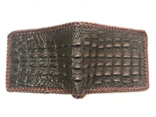 Genuine Crocodile Alligator Skin Leather Men/'s Wallet Dark Brown