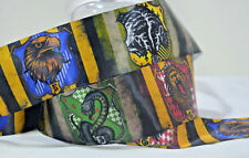 """Harry Potter Hufflepuff 1/"""" Repeat Ribbon Sold By The Yard USA Seller"""