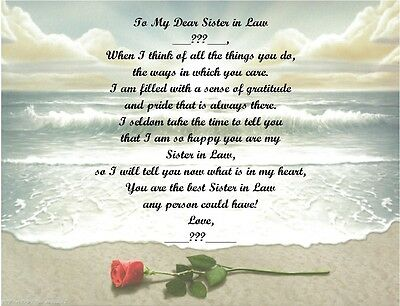 Christmas Birthday Gift For Sister In Law Personalized Poem Rose On Beach