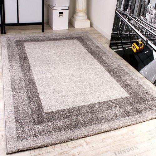 Modern Designer Rug Carpet Lounge Area Living Room Rugs Elegant Grey Border New