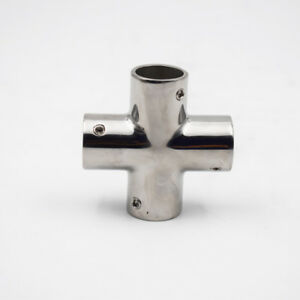 "1X Boat Hand Rail Fittings 4 Way 7/8"" Tube 90Degree Marine 316 S.S. Hot-selling"