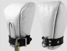 GENUINE LEATHER BONDAGE FIST MITTS/ WHITE GLOVES LOCKABLE & PADDED