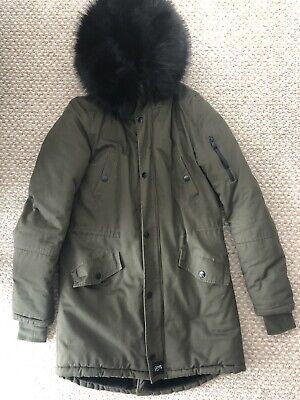 Green And Black Parka Coat