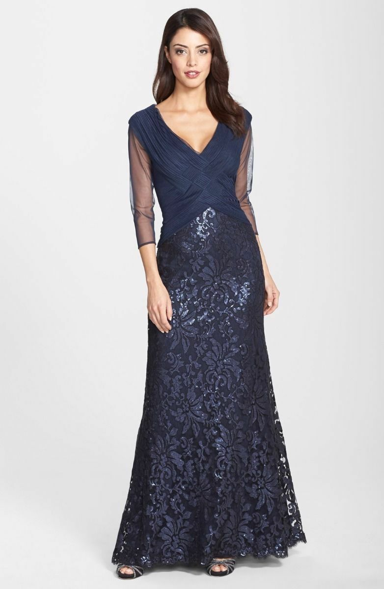 NWT  Tadashi Shoji Ruched Tulle Woven Bodice Gown 2P