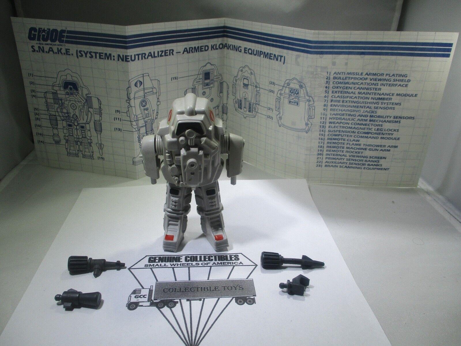 Gi Joe Cobra S.n.a.k.e. blancoo Armadura de Batalla + Planos + Accesorios Completa 1985