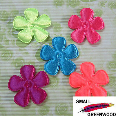 "(U Pick) Wholesale 50-500 Pcs 2"" Padded Shiny Neon Satin Flower Appliques F4000A"