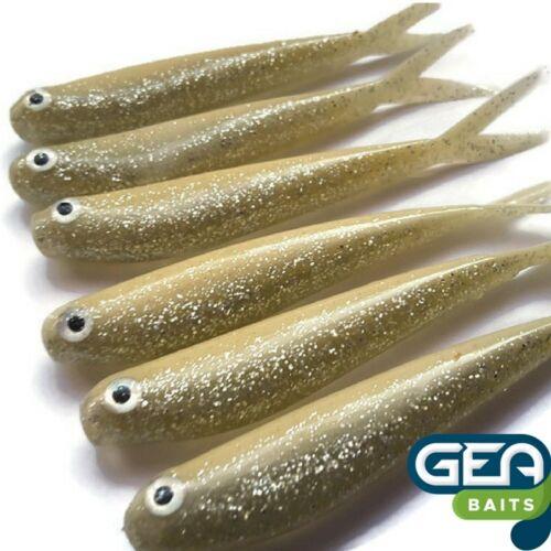 6 x CREMY Argent Caoutchouc Leurres doux 8 cm Sparkle pêche appât Tackle