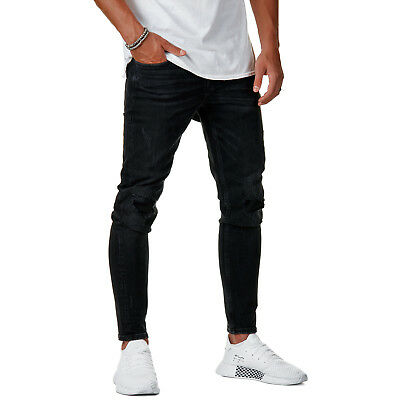 Herren Slim Denim Hose W29 Destroyed Schwarz W36Ebay Jeans Fit Burocs Br215 CBodxer