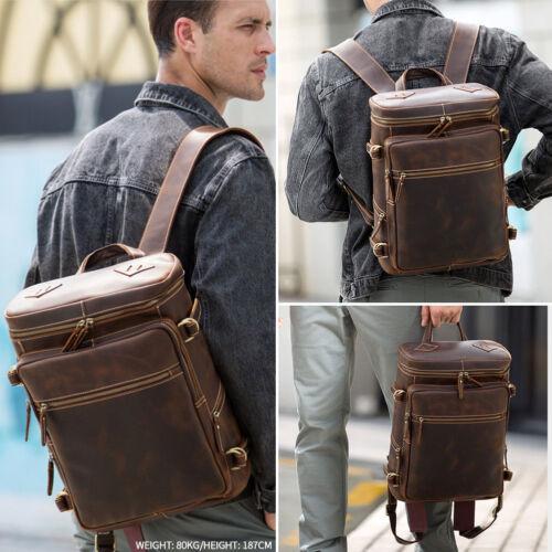 """Vintage Real Leather Backpack For Men Travel Work 16/"""" Laptop Daypack School Bag"""