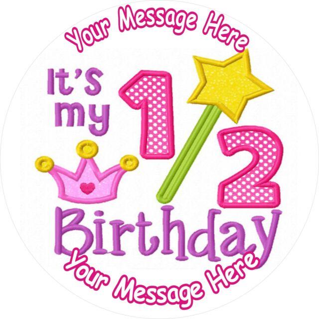 GIRL HALF BIRTHDAY 6 MONTHS OLD 75 ROUND ICING CAKE TOPPER