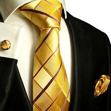 Gold gelbe Krawatten Set 3tg 100% Seide Paul Malone 538