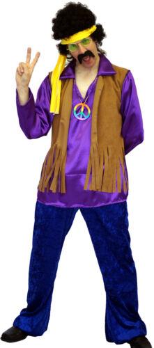 1960/'s//1970/'S PURPLE HIPPY//FESTIVAL ROCKER Fancy Dress Costume SML-XXXXL