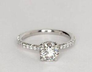 2.10 Ct Round Moissanite Wedding Ring 14K Hallmarked Solid White Gold Size 6 7 8
