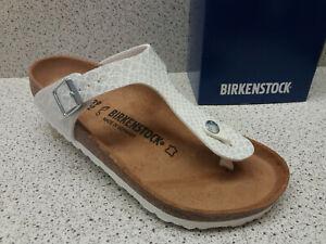 Details zu Birkenstock ® reduziert Top Preis Gizeh weiß Lack Glitzer Zehentrenner (Bi61)