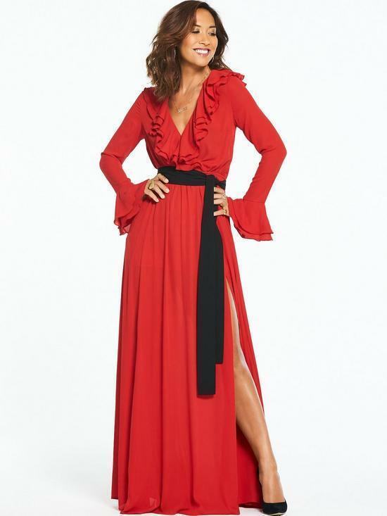 BNWT Myleene Klass Contrast Tie Ruffle Front rot Maxi Dress UK 12