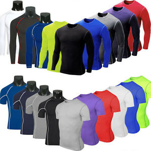 Mens Compression Baselayer Body Armour Thermal Under Skin Training T-Shirt Tight