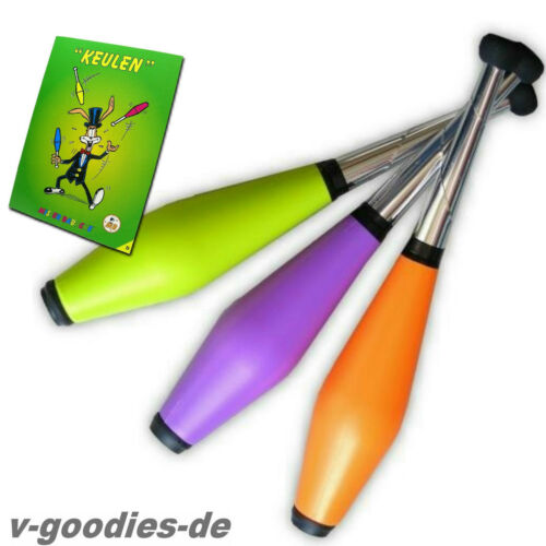 für Keulen Jonglage kleine Ausführung inkl Lern-Fibel 3er Jonglierkeulen Set