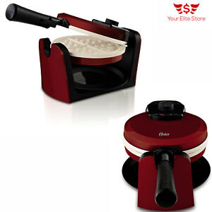 Waffle-Maker-Belgian-Breakfast-Kitchen-Commercial-Double-Waring-Iron-Heavy-Red