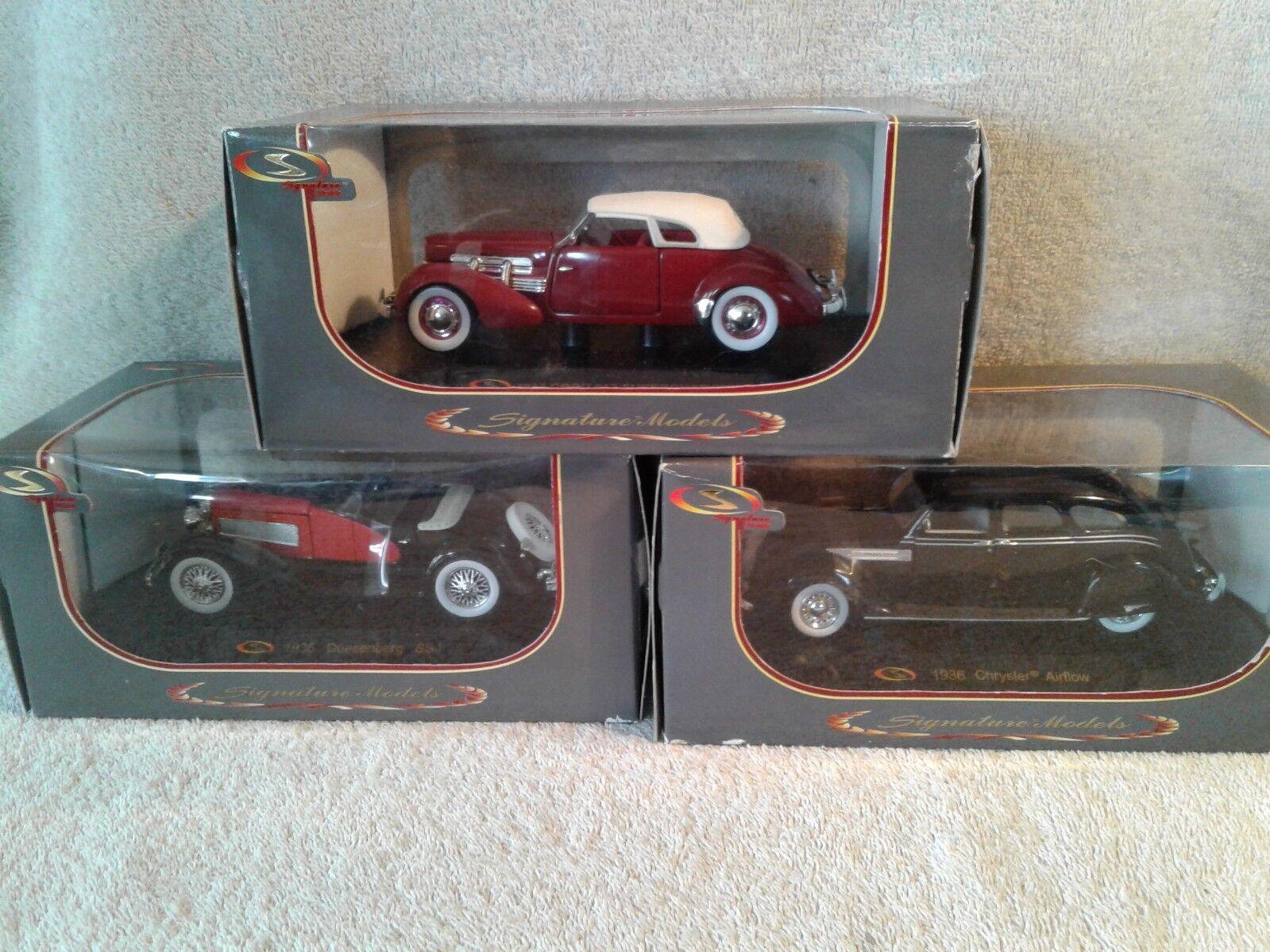 3 Signature Models 1 32 Car 1936 Chrysler Airflow 1935 Duesenberg 1937 Cord 812