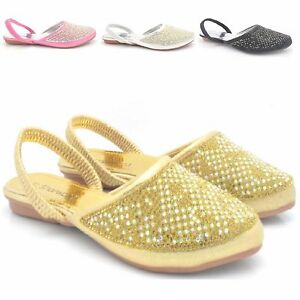 6ff61ceb1 NEW GIRLS KIDS DIAMANTE FLAT PARTY SANDALS CHILDREN S FANCY SHOES ...