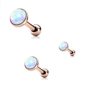 1a1d70c5f 3 Pc White Opal Rose Gold Cartilage Tragus Barbells Studs Triple ...