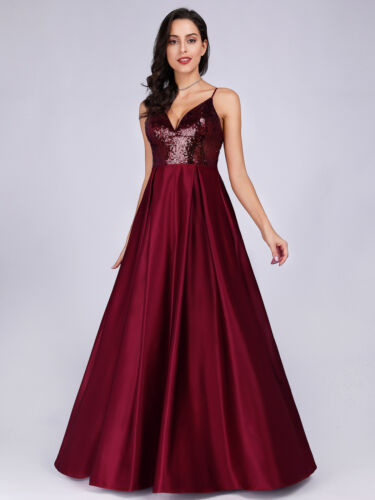 Ever-pretty Women Long Sequins A-line Cocktail Proms Evening Party Dresses 07859