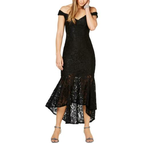 Xscape Womens Black Lace Embroidered V-Neck Formal Dress Gown 4 BHFO 4713