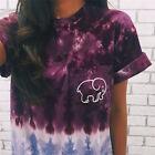 Womens Elephant ivory ella Print Fashion Girls Casual Short Sleeve T-shirts DX9