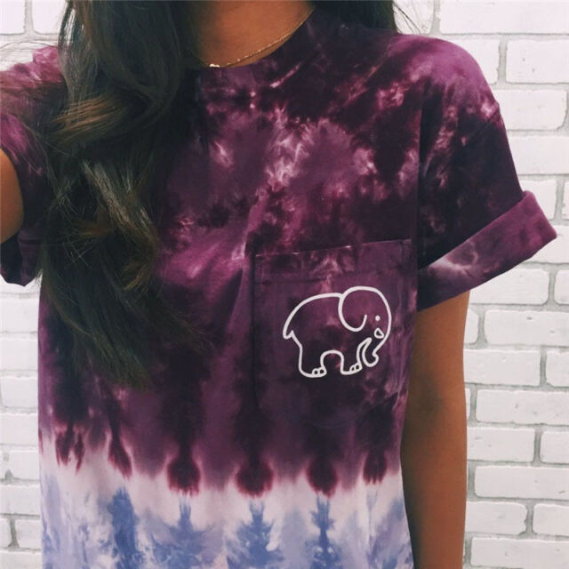 7818068b694ad4 Womens Elephant ivory ella Print Fashion Girls Casual Short Sleeve T-shirts  DX9