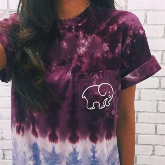7818068b694ad4 Womens Elephant ivory ella Print Fashion Girls Casual Short Sleeve T-shirts  DX9