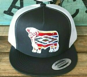 d3b6a6125 Details about Lazy J Ranch Wear Grey and White Serape Hereford Patch Cap  Mesh Trucker