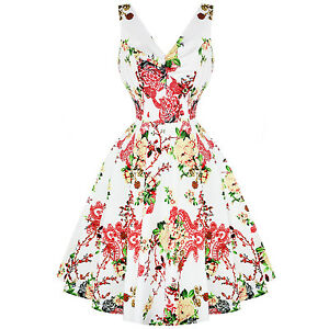 London Roses 1950s White svasato Vintage Hearts Sun Dress Paradise Floral Retro C5q7WUx