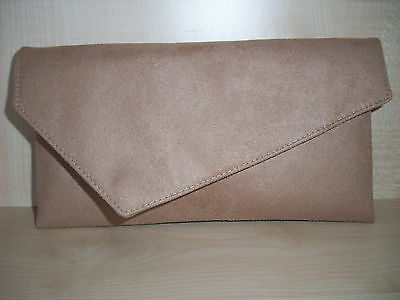 fully lined BN with strap SMALL BEIGE//NUDE  faux suede asymmetrical clutch bag