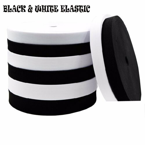 BLACK /& WHITE STRETCH ELASTIC FLAT ELASTIC  FAST DISPATCH