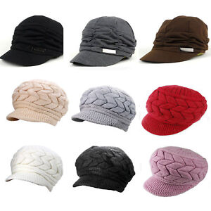 Women-Ladies-Winter-Hat-Cap-Peaked-Visor-Brim-Cotton-Slouchy-Beanie-Knit-Caps