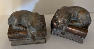 Vintage Cat on Book Stack Resin Bookends Pair