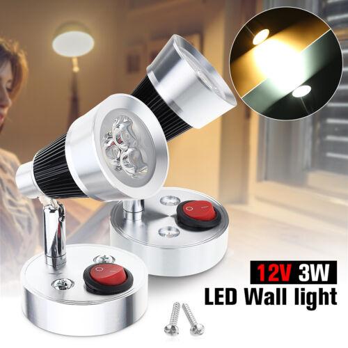 120° LED Spot Leselampe Innenraumleuchte Bettlampe Wandlicht Wohnwagen Boot 3W