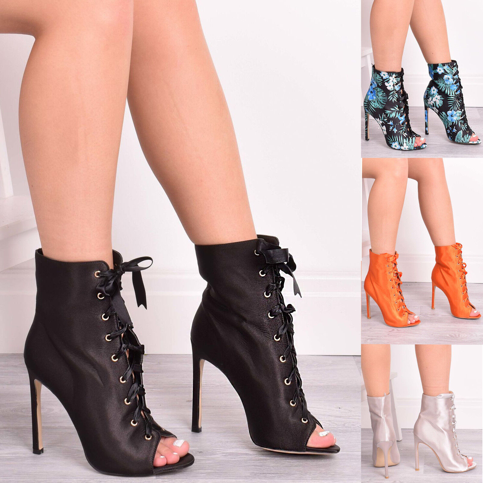 Ladies Womens Ankle Boots High Heel Casual Party Peep Toe Lace up Shoes Size 3-9