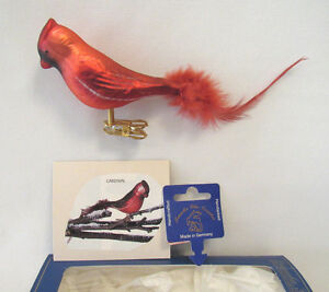 krebs glas lauscha red cardinal clip on blown glass ornament with feathers box ebay. Black Bedroom Furniture Sets. Home Design Ideas