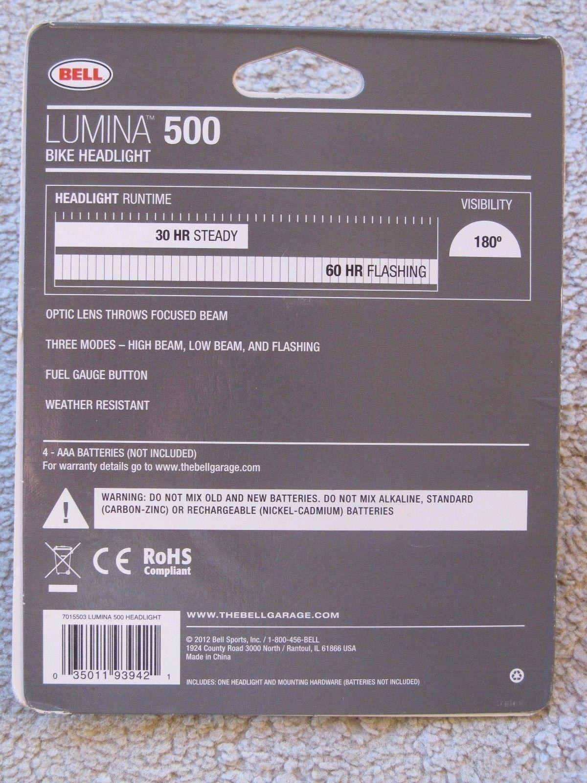 Bell Lumina 500 Bike Headlight  5 Super Brights 3 Light Settings  30 LUMENS