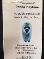 """Fenton Art Glass Hand Painted """" Panda Playtime """" Bead"""