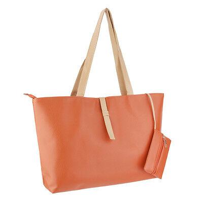 Women's Large Elegant Tote Shoulder Bag Handbag Purse Travel Work-Orange