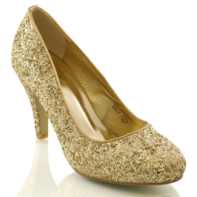 2d33249c4ca9 Womens Bridal Wedding Mid Heel Ladies Ivory White Silver Prom Party ...