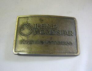 1982 World's Fair Vintage Souvenir Brass Belt Buckle Knoxville Tenn T*