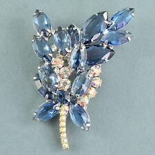 Vintage Brooch JULIANA Large 1960s Blue Crystal & Silvertone Bridal Jewellery