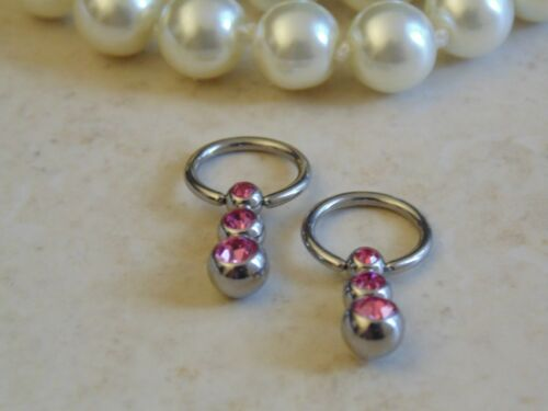 Captive Bead Ring with Gemmed Cascading Triple Ball Nipple Ring.