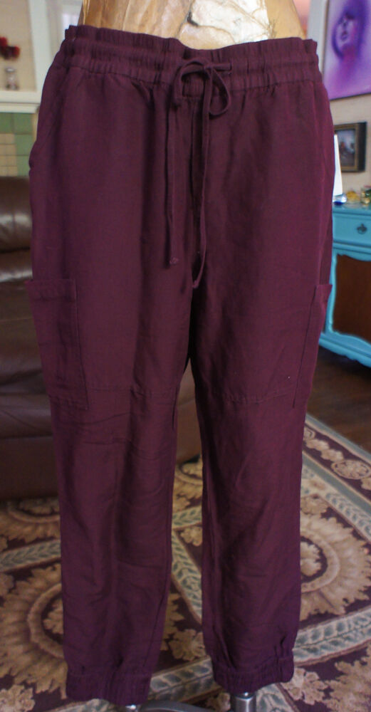 Old Navy Größe Large TALL Joggers Casual Linen NWT RARE Burgundy