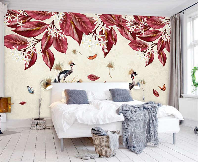 Dense Red Leaves 3D Full Wall Mural Photo Wallpaper Printing Home Kids Decor