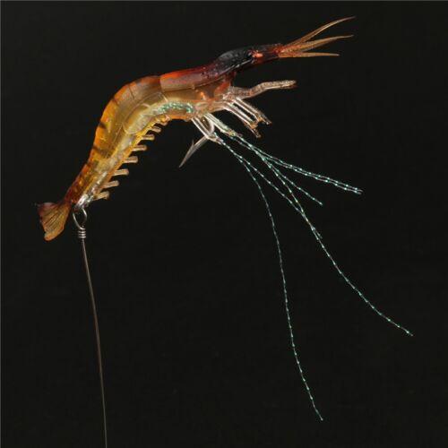 5 leurres souples crevette pêche en mer 9cm 7g silicone jaune rouge
