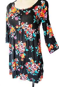 US-size-14Y-UK-size-S-steretch-H-amp-M-black-floral-dress-larger-girl-sizes